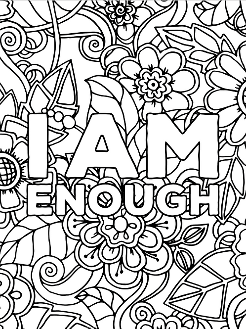 Floral + Affirmations Coloring Pages