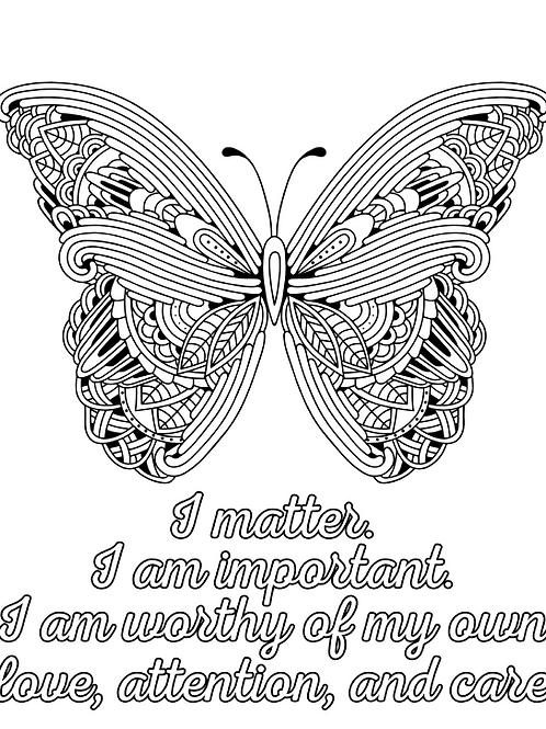 Butterflies + Affirmations Coloring Pages