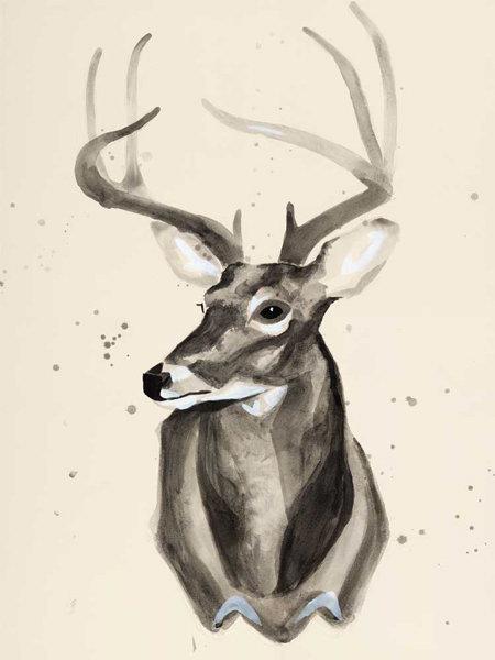 Watercolor Deer Head 3