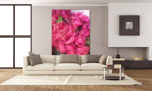Bright Pink Flowers | Big Wall Art on Canvas | DIY oversized art ...