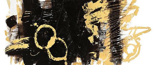 Gold Black Abstract Panel III