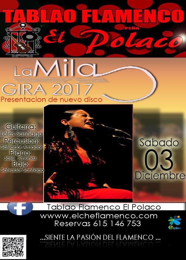 """El próximo Sábado día 03 de Diciembre tenemos una actuación de 5 estrellas tenemos en exclusiva a """"La Mila"""" una artista con una voz única y flamenca que ha colaborado con grandes artistas tales como Montse Cortes y etc..no te pierdas esta gran actuación y a ven a pasar una noche inolvidable. -----------------------RESERVAS 615 146 753-------------------------- -----------------------www.elcheflamenco.com--------------------------- -----------------------Crtra Elche - Aspe Km-1----"""