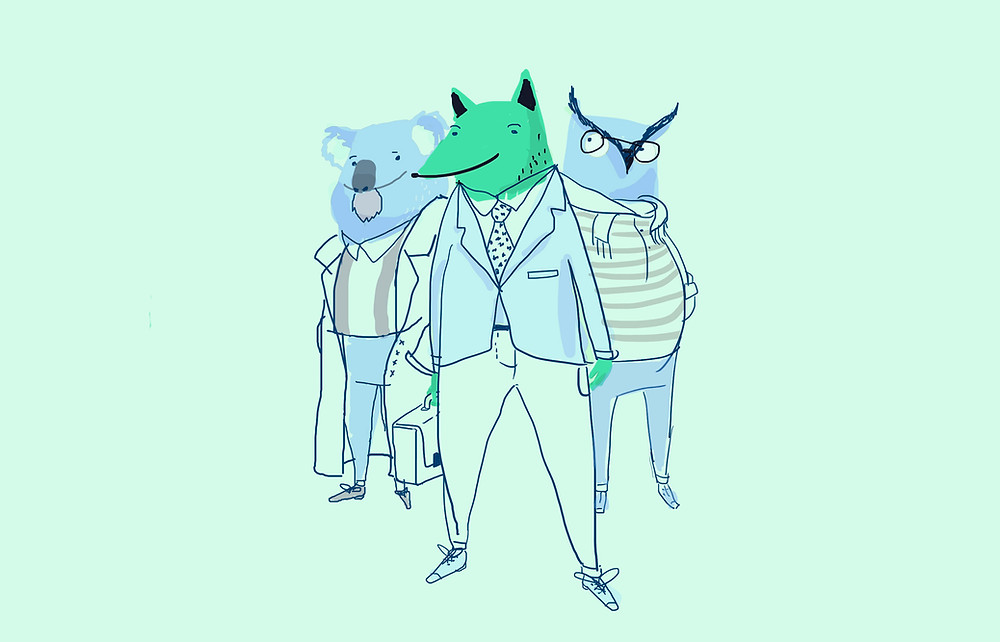 Image of three animals dressed in business clothes