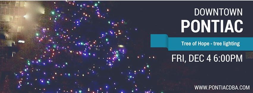 Tree of Hope tree lighting in Downtown Pontiac