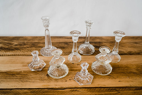 Vintage Clear Glass Candlesticks