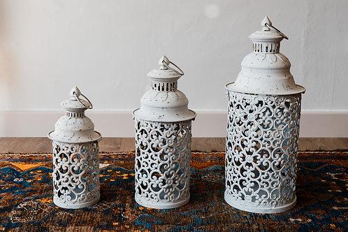 Moroccan Lantern - Medium white