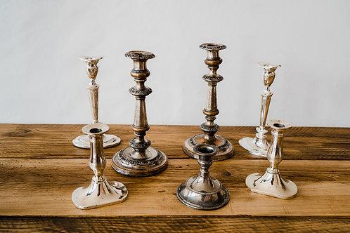 Vintage Silver Candlesticks - mismatched