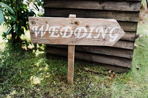 Rustic wedding signposts