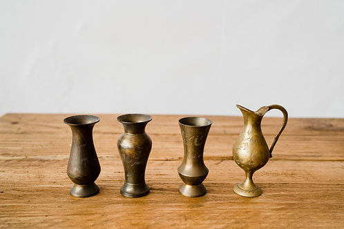 Small brass bud vases