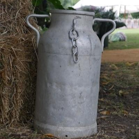 Galvanised metal milk churns
