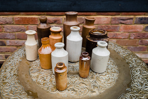 Vintage Clay Bottle - Small mismatched