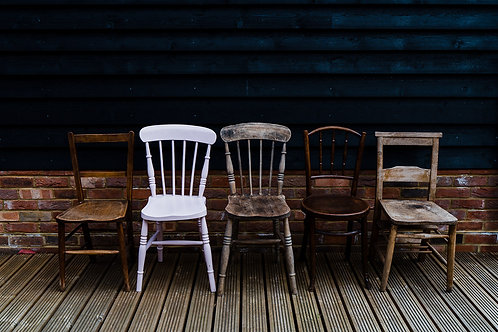 Vintage mis-matched wooden dining chairs