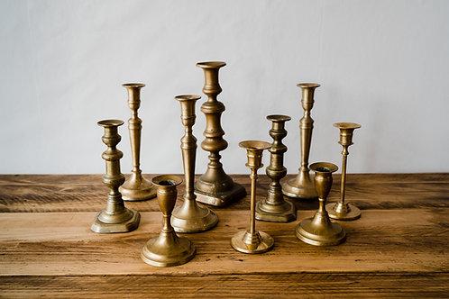 Vintage Bronze Candlesticks - mismatched