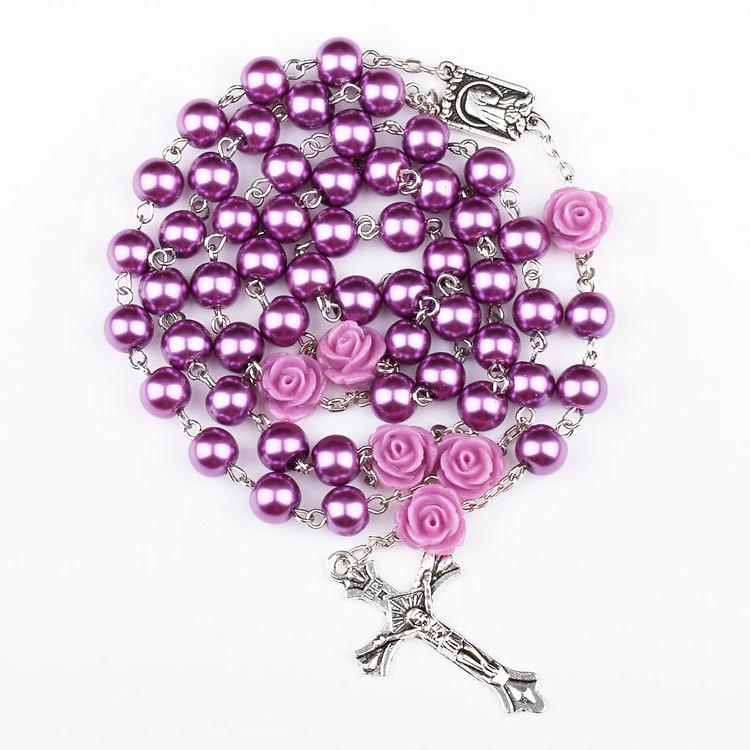 traditional catholic holyfaith tv purple rosary necklace