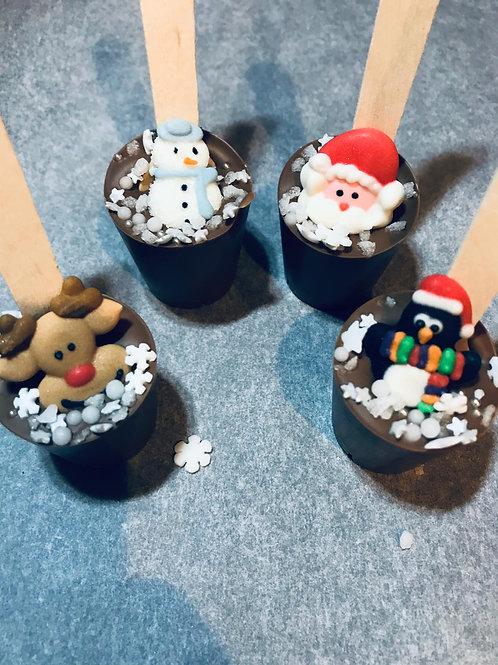 Festive chocolate stirrers
