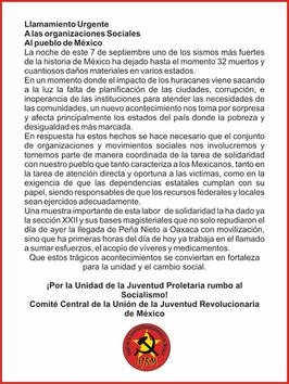 Llamado a la solidaridad por parte de la Unión de la Juventud Revolucionaria de México