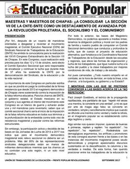 MAESTRAS Y MAESTROS DE CHIAPAS: ¡¡A CONSOLIDAR LA SECCIÓN VII DE LA CNTE-SNTE COMO UN DESTACAMENTO D