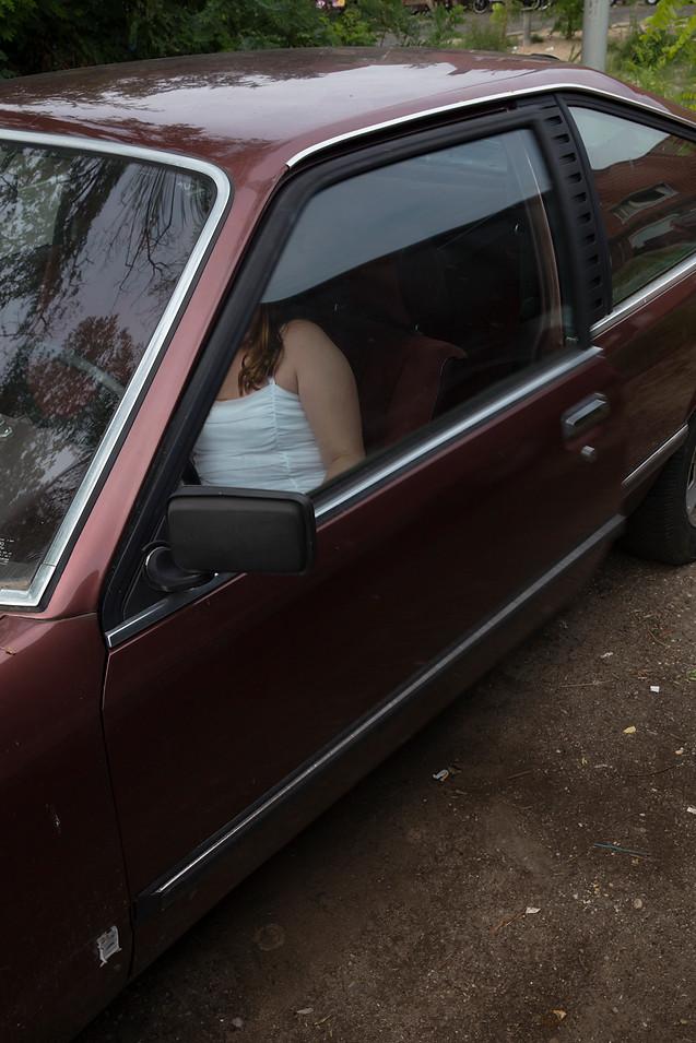 Kaylin in car, 2018