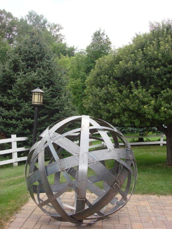 Welded landscape sculpture ball