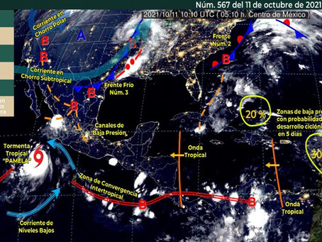 "Se formó tormenta tropical ""Pamela"" en el Pacífico"