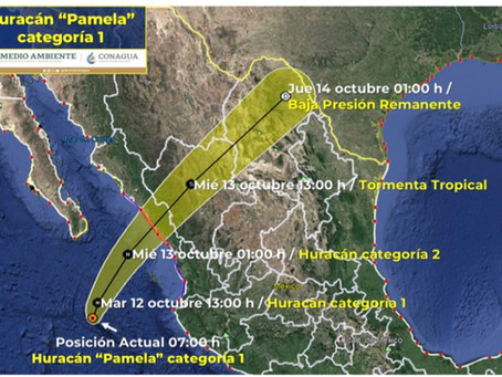 En los próximos minutos Pamela impactará en Sinaloa