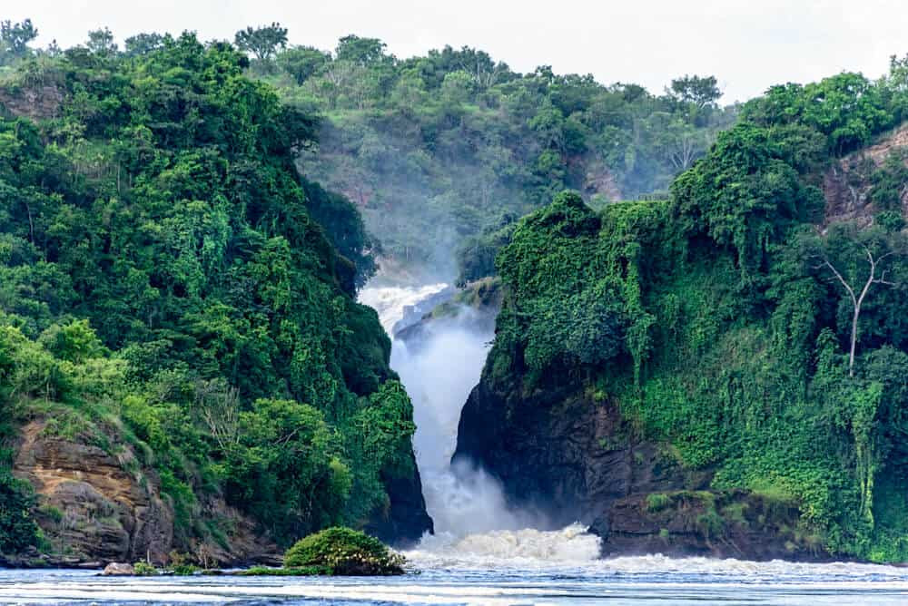 Murchison Falls shot from just downstream , one of the highlights of a Murchison Falls photo safari