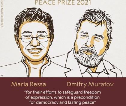 Premio Nobel de la Paz a periodistas filipina y ruso