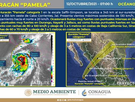 Pamela se acerca a Sinaloa; decretan alerta amarilla