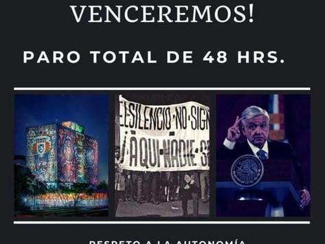 Convocan a paro en la UNAM; exigen disculpa a AMLO