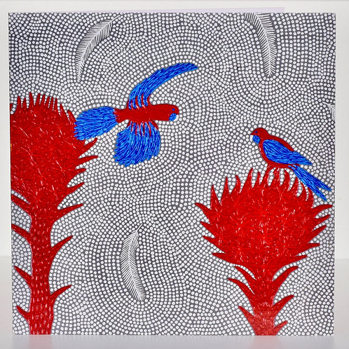 Card: Gymea Lilly and Crimson Rosella