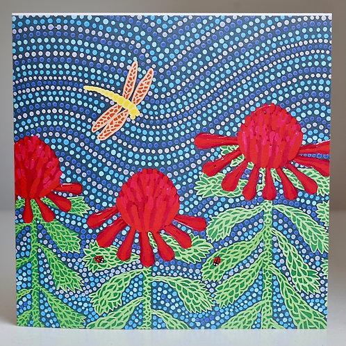 Card: Waratah and Dragonflies