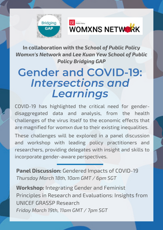 """Invitation to """"COVID-19 and Gender: Intersections and Learnings"""" - LSE and LKYSPP"""