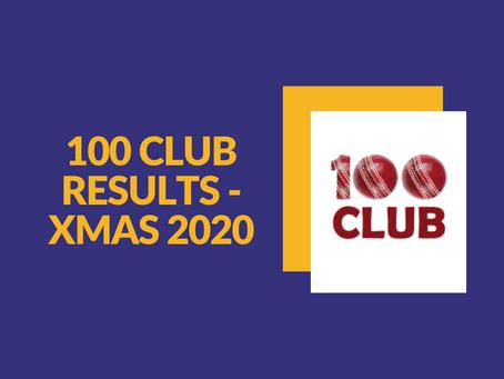 100 Club Results - Xmas 2020