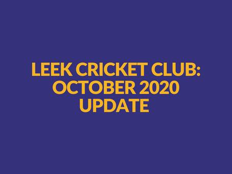 Leek Cricket Club Update - October 15th 2020