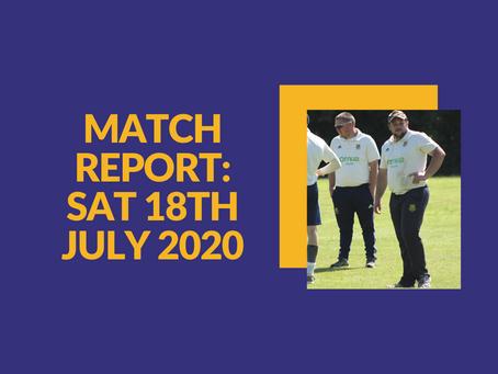 Match Report - Saturday 18th July 2020