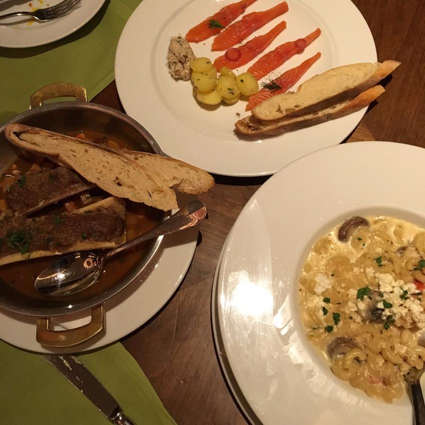 Bone Marrow Cultivateur, Steelhead Salmon Gravlox, & Maine Lobster Mac and Cheese