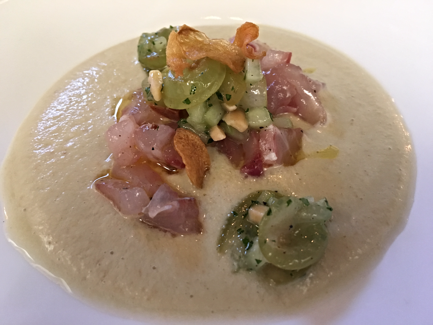 Striped Bass Crudo in a White Gazpacho