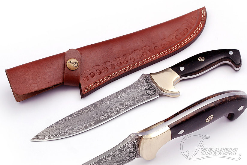 "Damascus Knife 7"" with Black Resin Handle and Brass Bolster FC8503"