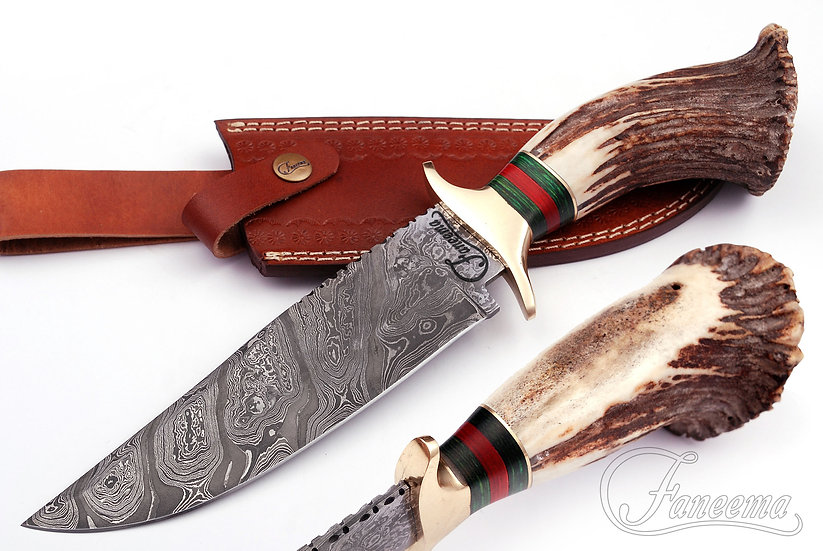 "Damascus 8"" Bowie / Hunting Knife with Stag Crown Handle FC8513-1"