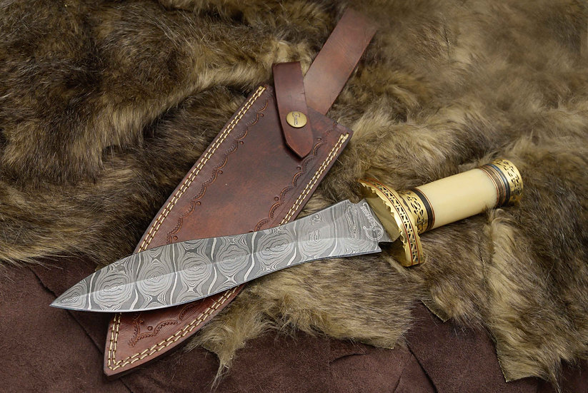 "Damascus 10"" Dagger With Bone Handle and Brass Hilt FC8520-1"