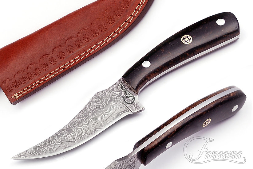 """Damascus 3.75"""" Knife with Black Resin Handle FC2113-1"""