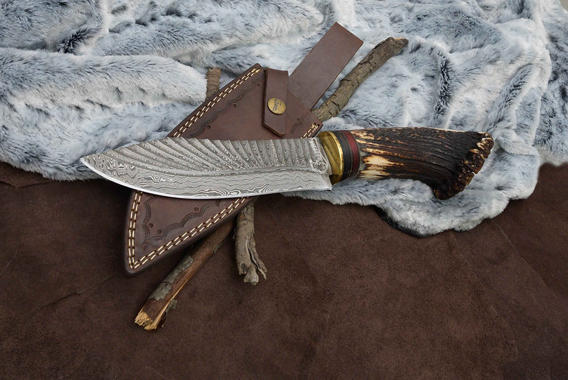 """Atalay Damascus 8"""" Knife with Stag Crown Handle FC8513"""