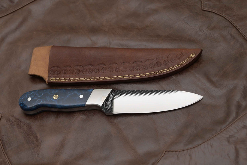 "Handemade File Steel Knife 5"" with Blue Marble Resin Handle FC2537"