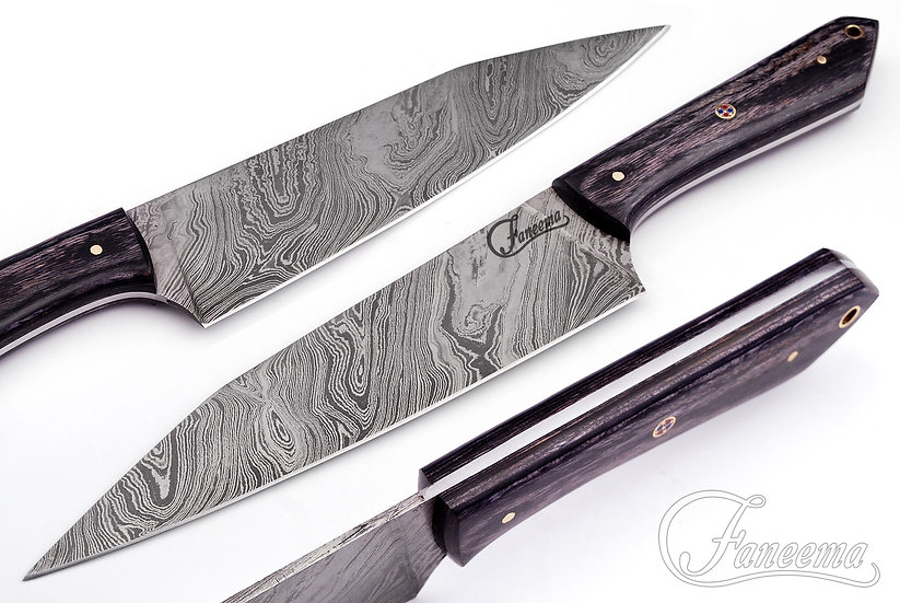 "Damascus 8"" Chef Knife With Black Pakkawood Handle FC6101"