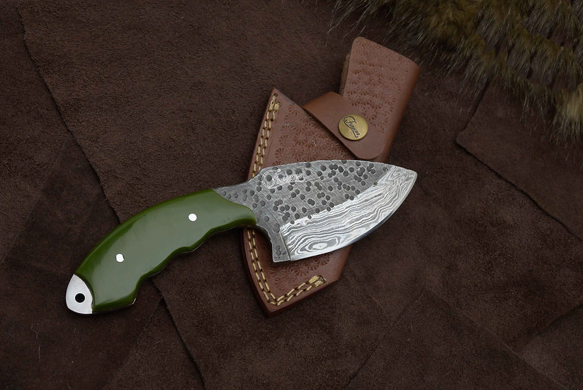 "Damascus 3.5"" Skinner with Green Resin Handle FC2110-2"