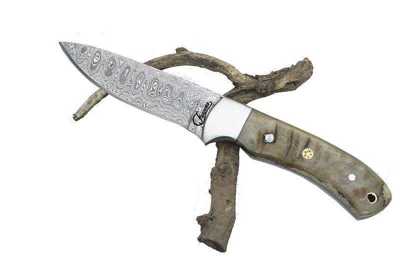 "Damascus 4.5"" Knife with Ram Horn Handle FC2534"