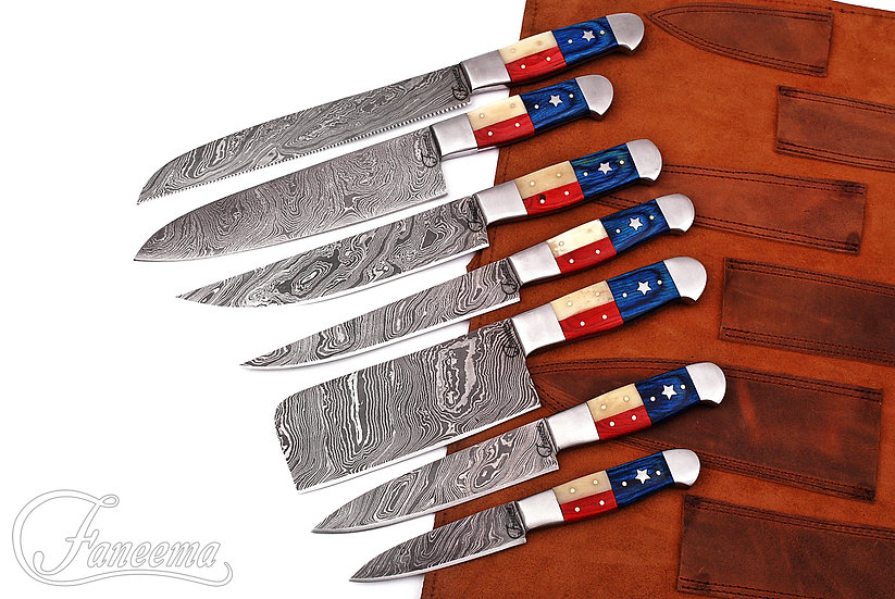 Damascus 7-Piece Kitchen Knife Set with Texas Flag Handles FC3104