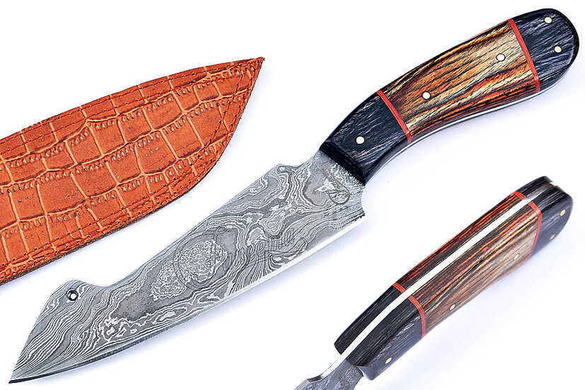 "Damascus 6"" Chef Knife with Black and Brown Pakkawood Handle FC6119"