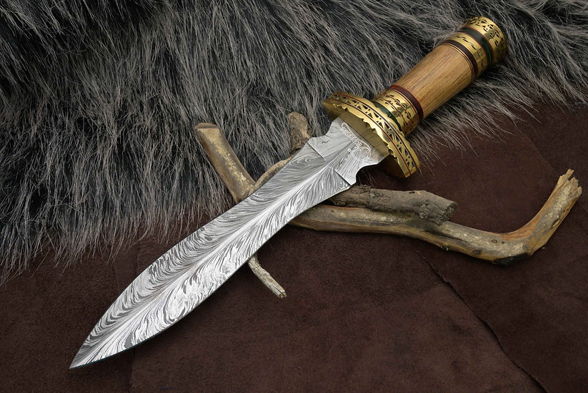 """Damascus 10"""" Dagger With Olive Wood Handle and Brass Hilt FC8520"""