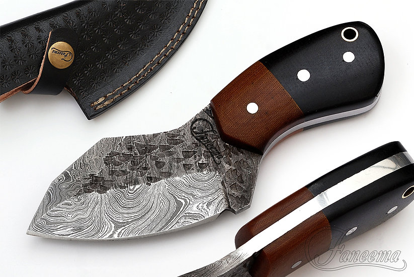"""Damascus 3"""" Skinner with Two-Tone Micarta Handle FC2103-2"""